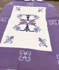 Crochet Afghan Blanket Purple White Handmade 74x43