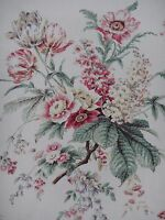 "SANDERSON CURTAIN FABRIC DESIGN ""Tournier"" 3.4 METRES STRAWBERRY/CREAM RICHMOND"