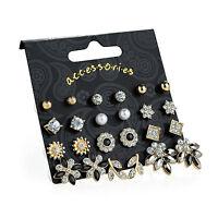 12 Pairs Gold Crystal Cream Pearl Black Ladies Stud Earrings Fashion Jewellery