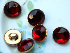 Vintage Glass buttons Japan Japanese Button ruby red Siam NOS #1232T