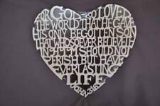 John 3:16  Bible  Verse  Scrolled Wooden Heart  Wall Hanging Biblical Wall Art