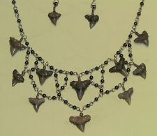 STERLING Shark's Teeth HEMATITE Handcrafted Necklace BUY from the Artist! HORUS