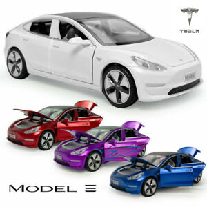 NEW 1:32 Tesla Model 3 Diecast Model Car Pull Back LED Vehicle Collectible Toy