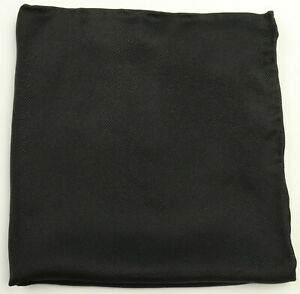 New Mens Bloomingdales Black Solid Textured 100% Silk Handkerchief Pocket Square