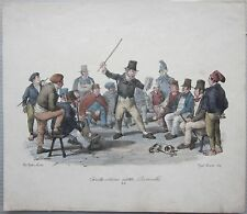 1835ca STORYTELLERS SAID RINALDO lithography Cats and Hard costumes Naples