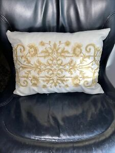 """Pier 1 Embroidered Throw Pillow 16""""X12"""" Gold Yellow Beige Cream Floral Botanical"""