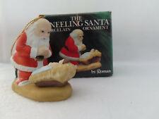 1985 The Kneeling Santa Ornament Roman Bisque Porcelain - Mib