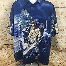 Mens  ZAM Collection Blue Warrior and Dragon Button Front Shirt Size XL