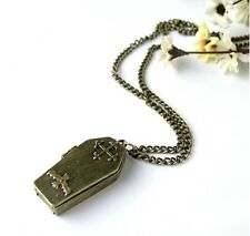 Hallowee Bat Cross Open Box Coffin Casket Punk Vampire Jesus Pendant Necklace