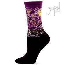 Starry Night Crew Socks - Hot Sox purple Fine Art Van Gogh novelty socks