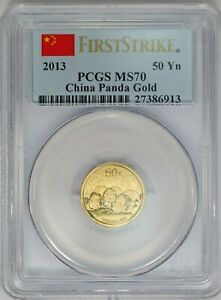 2013 PCGS 50 Yuan 1/10 oz 999 Gold Panda MS70 First Strike Flag Label