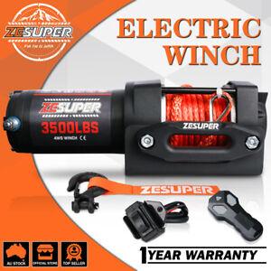 ZESUPER Electric Winch 12V Wireless 3500LBS / 1588KG Synthetic Rope ATV UTV BOAT
