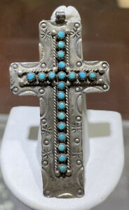Vintage Northwest Native Sterling Silver Turquoise Cross Signed JPanz 10.2 Grams