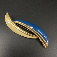 Vintage Navy Blue & Cream Enamel on Gold Tone Metal Brooch Pin Estate Jewelry