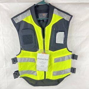 5.11 Tactical Hi-Visibility Motor Vest 320 Yellow Neon Mens Reg Zip MIL-Spec