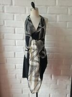 BCBG MAXAZRIA RUNWAY Black White Abstract Striped Print Ruffle Dress S