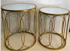 Dwell Round Side Table Gold Mirror Top Set of 2