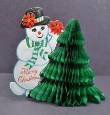 Vtg Christmas Snowman Die-Cut Honeycomb Tissue Paper Fold Out Decoration