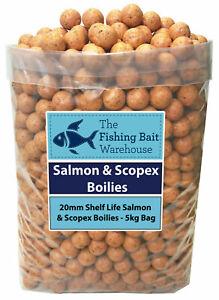 SALMON & SCOPEX Carp Fishing Boilies 20mm 1kg-20kg - Shelf Life Boilies - Coarse