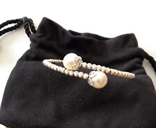 Cuff bracelet- sparkling sterling silver beads, freshwater cultured pearls, NWOT