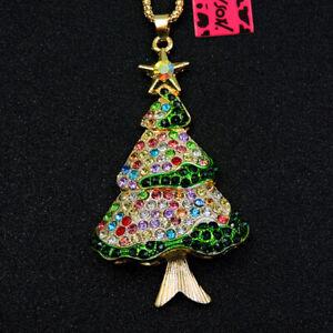 Betsey Johnson Rhinestone Colorful ChristmasTree Crystal Pendant Chain Necklace