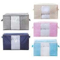 2PCS Clothes Quilt Blanket Storage Bag Charcoal Bamboo Organizer Foldable Box