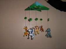 childrens bedroom/nursery ceiling mobile. zoo animals. wooden, boxed, 18 inches