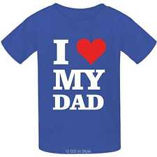 Kids 100% Cotton T-shirt I Love My Dad design boys girls I Heart My Dad T-shirt