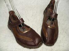 Berne-Mev Mary Jane Comfort Shoes 37/6.5-7 Brown & Gold Leather Adar
