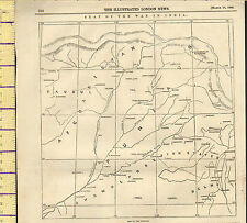1846 MAP ~ PUNJAUB SEAT OF WAR IN INDIA ~ ILLUSTRATED LONDON NEWS