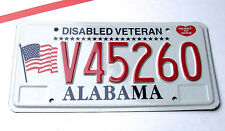 Alabama DISABLED VETERAN License Plate VET MILITARY