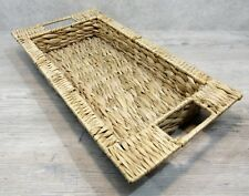 Large Woven GRASS/WICKER TRAY, Rectangular, Rimmed with Incorporated Handles