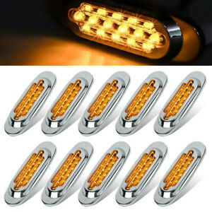 Pack of 10 Sealed 16Led Yellow Side Marker Boat Trailer Truck Clearance Light