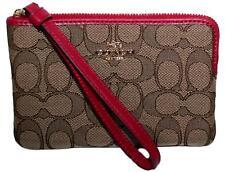 Coach Corner Zip Wallet Wristlet Clutch Red Leather Sig PVC F58032 F58033 F58035