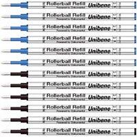 Unibene Gel Ink Rollerball Refills 12 Pack, 0.5mm Fine Point - 6 Black, 6 Blue