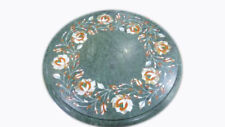 "12"" green Marble corner end Table Top Inlay Work Outdoor home Decor"