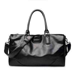 Mens Black Large Leather Hnadbag Duffle Luggage Weekend Overnight Travel Bag