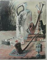 Petr Strnad original signed lithograph, still life Playing Cards and Pipes 1985