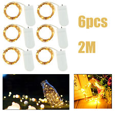 6X Party Lights Warm White Battery Powered Copper Wire String Fairy Xmas 2M AUS
