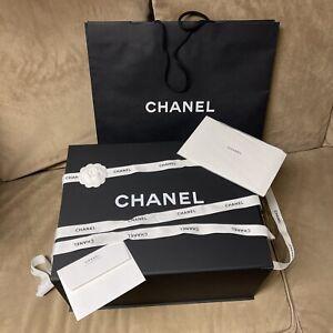 Authentic Chanel Magnetic Gift Box. Maxi Jumbo! 18x14x8/flower/ribbon/tissue...