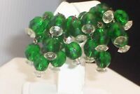 Vintage Art Deco Faceted Dark Green & Clear Flat Glass Bead Clip On Earrings