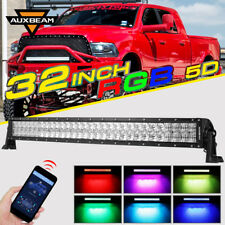 """AUXBEAM 32"""" Curved RGB CREE LED Light Bar Multi Color Change Flash Offroad Truck"""
