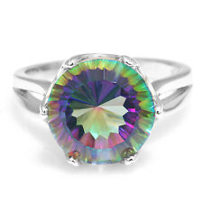 Natural Mystic Fire Rainbow Topaz Ring 925 Sterling Silver Fashion Jewelry