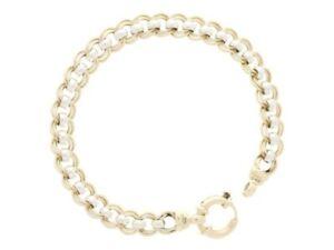 Ladies 9CT Two Tone Yellow & White Gold Bracelet (20.5cm) 24.52Grams