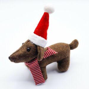 Dachshund CHRISTMAS TREE DECORATION sausage dog STANDING SHELF ORNAMENT BROWN