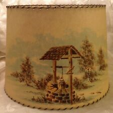 "VINTAGE fiberglass LAMP SHADE Wishing well trees scene 12"" X 15"" X 10 1/2"" tall"