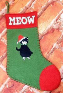 "Black Cat Meow Felt Christmas Stocking World Market 8"" x 13.5"""