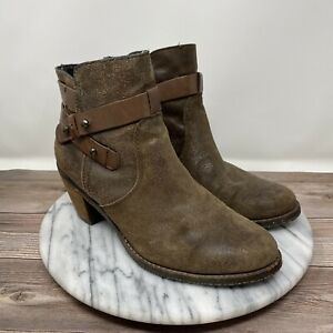 OTBT Bexar Suede Strappy Ankle Boot w/ Side Zip Tan & Brown Women's Size 7.5M