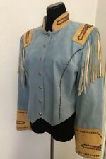 Women's Renegade Cowgirl Couture Blue Suede Jacket Size M NWT $475.00