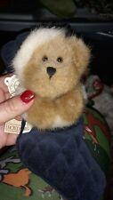 "Boyds Bear ""Jingle S. Stuffins"" Plush Hanging Bear With Blue Stocking Nwt"